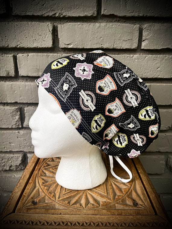 Halloween Scrub Cap, Witch, Potions, Surgical Scrub Cap, Scrub Caps for Women, Scrub Hats, Euro Pixie Toggle Hat