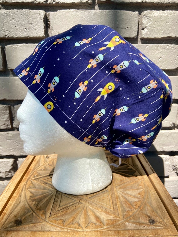 Adorable Navy Rocket Print - Surgical Scrub Cap -Handmade- Euro Pixie Toggle Scrub Hat