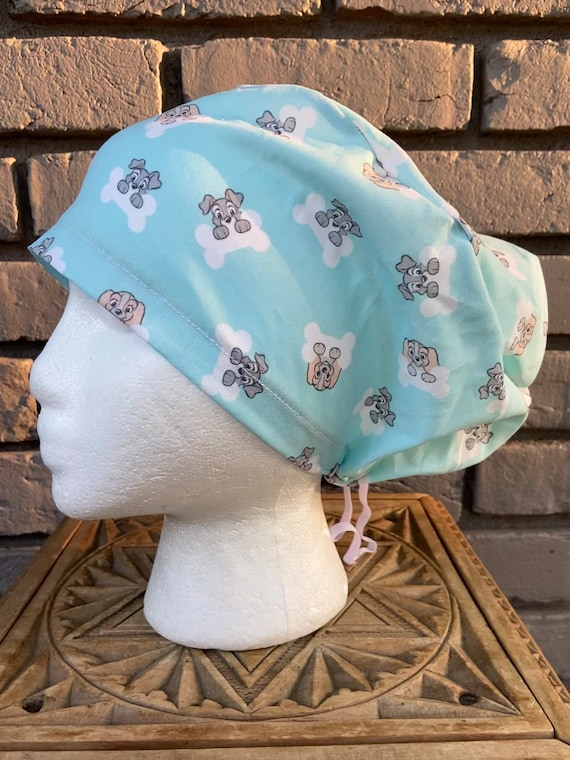 Disney Blue Lady and the Tramp Print - Surgical Scrub Cap -Handmade- Euro Pixie Toggle Hat