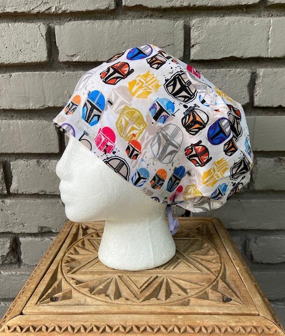 Star Wars Mandalorian Print- Surgical Scrub Cap -Handmade- Euro Pixie Toggle