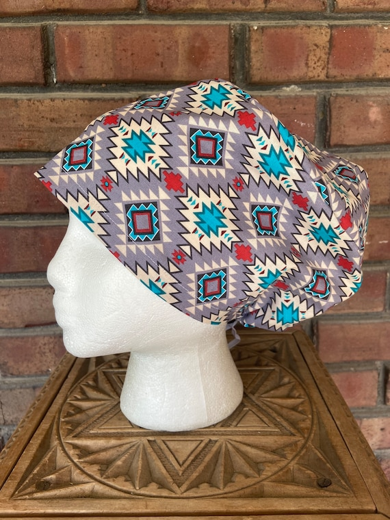 Gray, Turquoise, and Red Southwestern Print - Surgical Scrub Cap -Handmade- Euro Pixie Toggle Scrub Hat