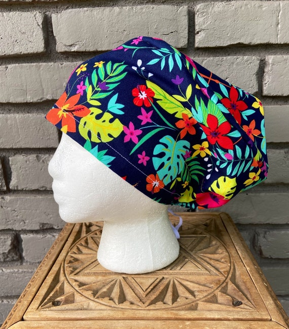 Floral Scrub Cap, Bright Tropical Floral, Surgical Scrub Cap, Scrub Caps for Women, Scrub Hats, Euro Pixie Toggle Hat