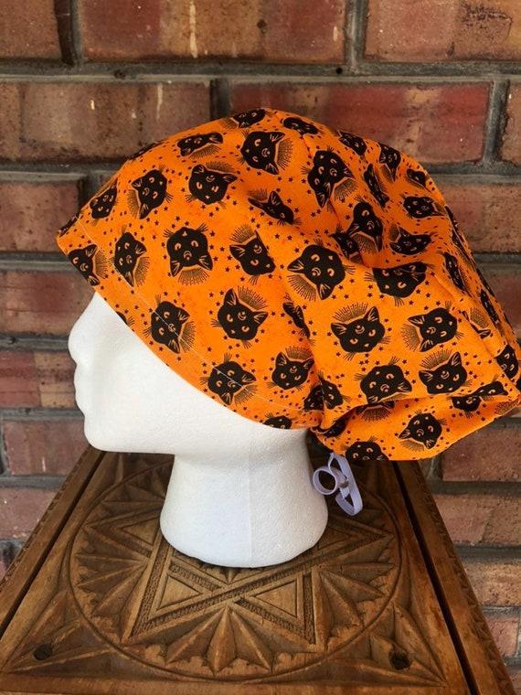 Halloween Black Cat Print-  Surgical Scrub Cap -Handmade- Euro Pixie Toggle Hat