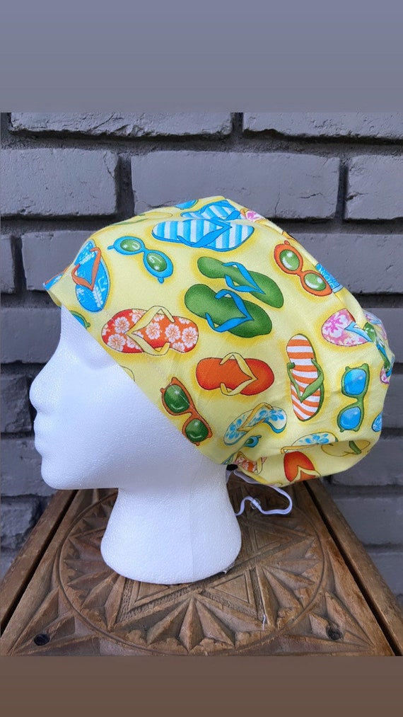 Colorful Scrub Cap, Surgical Scrub Cap, Scrub Cap for Woman, Scrub Hats, Euro Scrub Cap for Woman with Toggle, Flipflop, Summertime