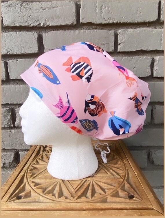 Fish Scrub Cap, Surgical Scrub Cap, Scrub Caps for Women, Scrub Hats, Euro Pixie Toggle Hat