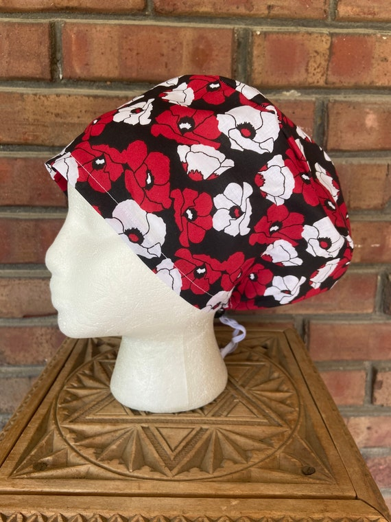 Red Poppy Floral Print - Surgical Scrub Cap -Handmade- Euro Pixie Toggle Scrub Hat