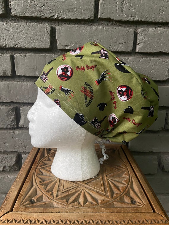 Nightmare on Elm Street, Surgical Scrub Cap, Scrub Cap for Woman, Scrub Hats, Euro Scrub Cap for Woman with Toggle, Halloween,  Inspired