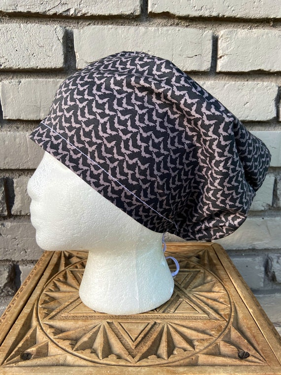 Halloween Gray and Black Bat Print - Surgical Scrub Cap -Handmade- Euro Toggle Hat