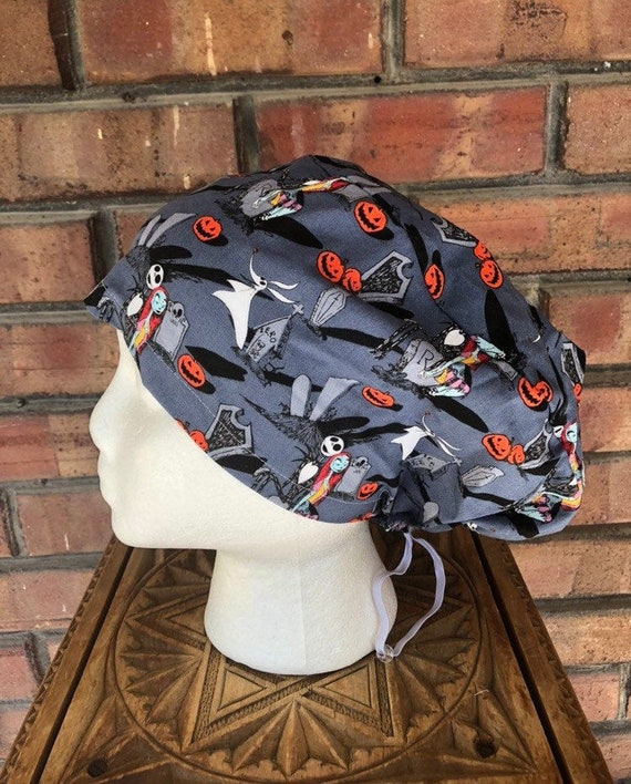 Disney Nightmare Before  Christmas Print -  Surgical Scrub Cap -Handmade- Euro Pixie Toggle Hat