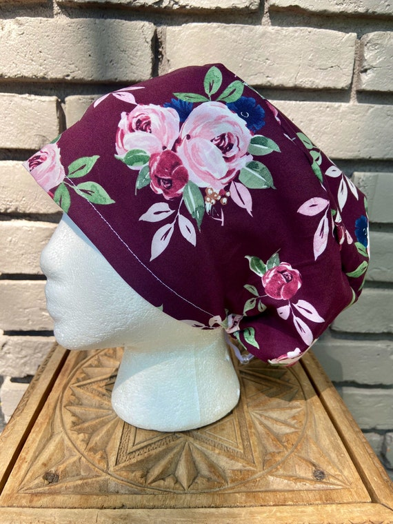 Floral Scrub Cap, Maroon Rose Flower, Surgical Scrub Cap, Scrub Caps for Women, Scrub Hats, Euro Pixie Toggle Hat