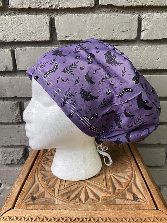 Bat Scrub Cap, Purple, Surgical Scrub Cap, Scrub Caps for Women, Scrub Hats, Euro Pixie Toggle Hat, Halloween