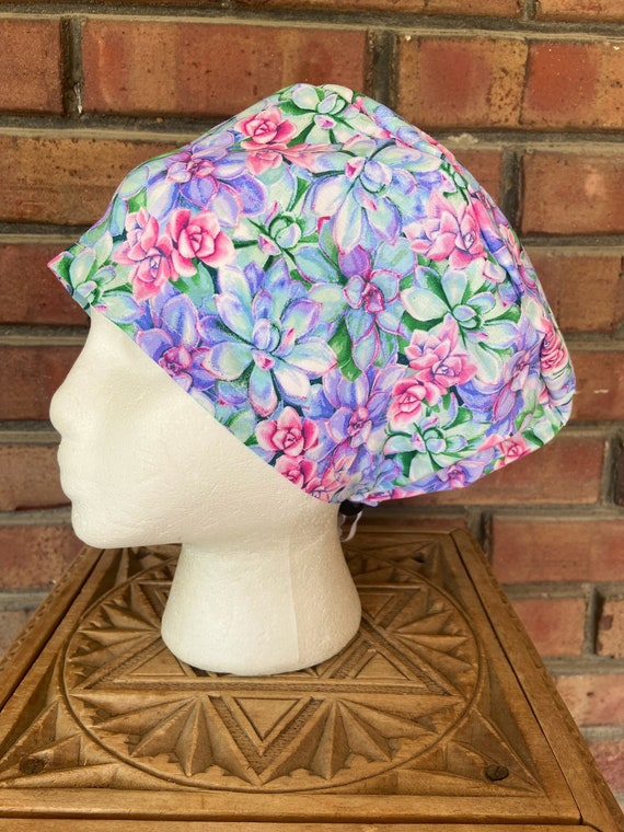 Flower Scrub Cap, Succulent, Surgical Scrub Cap, Scrub Caps for Women, Scrub Hats, Euro Pixie Toggle Hat