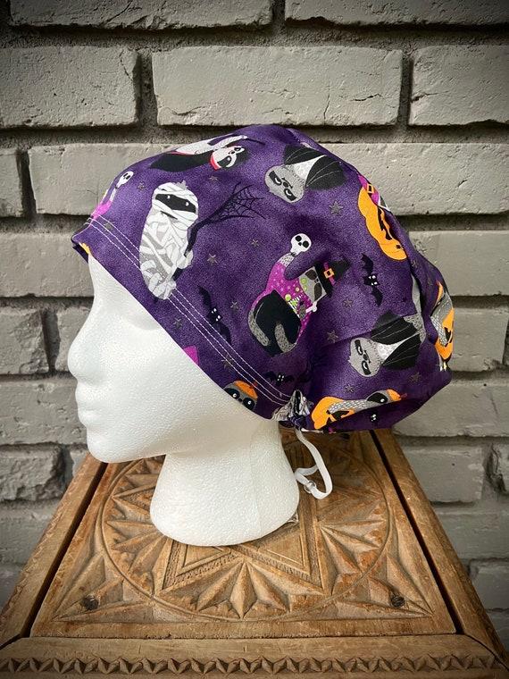 Sloth Scrub Cap, Sloth, Surgical Scrub Cap, Scrub Caps for Women, Scrub Hats, Euro Pixie Toggle Hat, Halloween