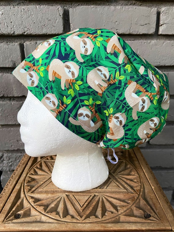 Sloth Scrub Cap, Sloth, Surgical Scrub Cap, Scrub Caps for Women, Scrub Hats, Euro Pixie Toggle Hat