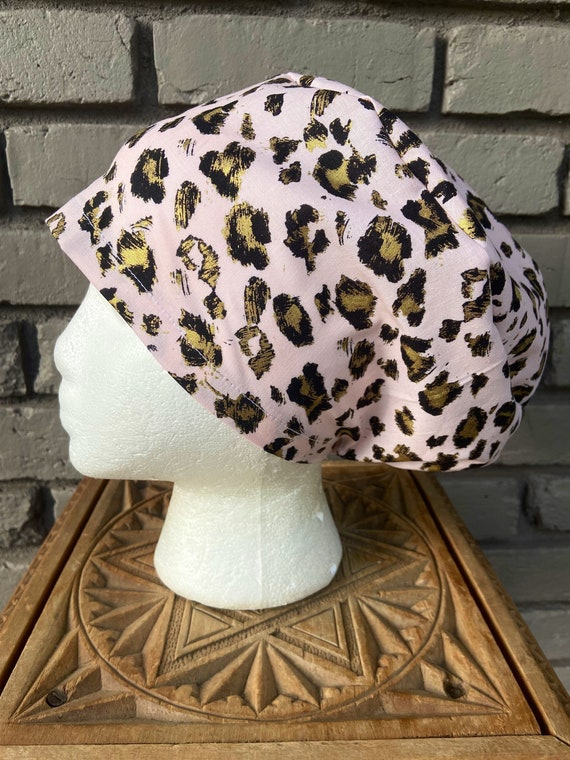 Pink and Gold Cheetah Print, Surgical Scrub Cap, Scrub Caps for Women, Scrub Hats, Euro Pixie Toggle Hat