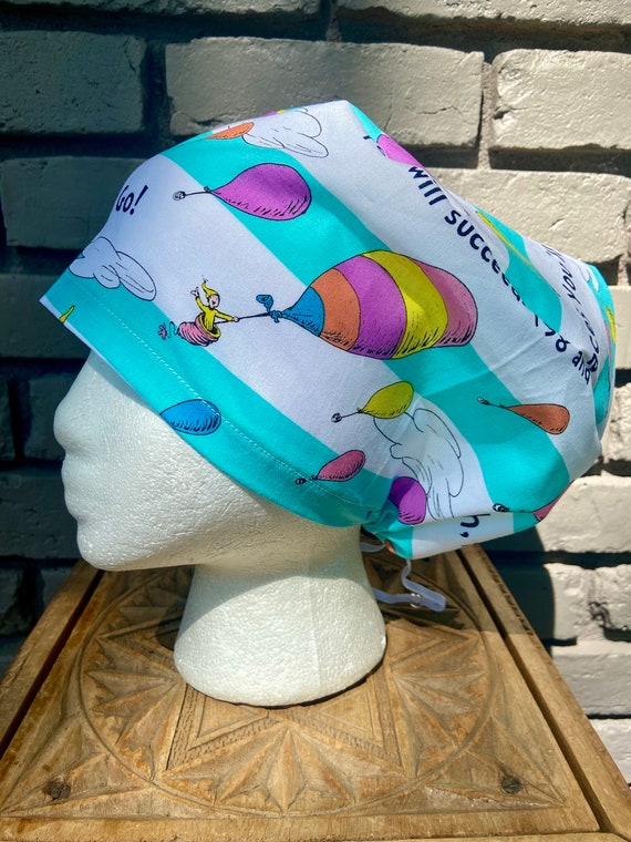 Dr. Seuss Oh the Places You'll Go Print - Surgical Scrub Cap -Handmade- Euro Pixie Toggle Scrub Hat