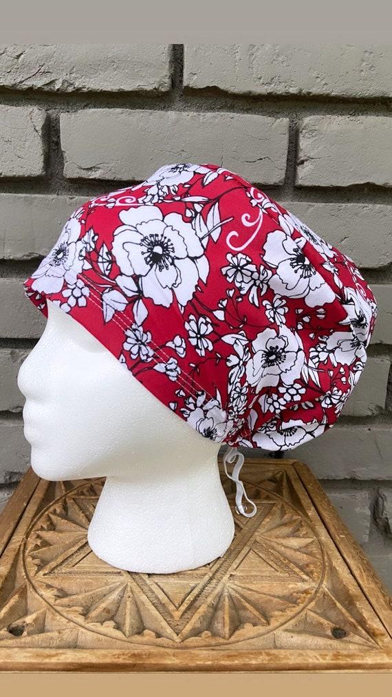 Red Floral Scrub Cap, Surgical Scrub Cap, Scrub Cap for Woman, Scrub Hats, Euro Scrub Cap for Woman with Toggle, Hibiscus