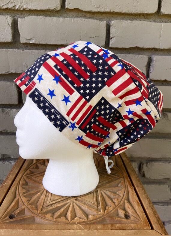 Patriotic Scrub Cap, Surgical Scrub Cap, Scrub Cap for Woman, Scrub Hats, Euro Scrub Cap for Woman with Toggle, American Flag