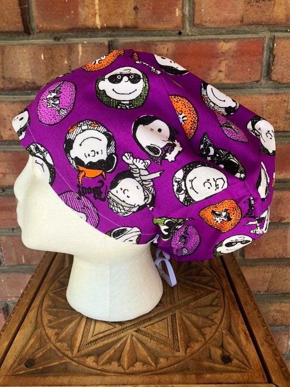 Peanuts Scrub Cap, Charlie Brown Halloween, Surgical Scrub Cap, Scrub Caps for Women, Scrub Hats, Euro Pixie Toggle Hat