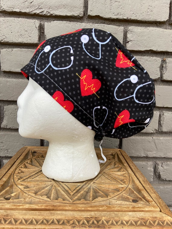 Heartbeat Scrub Cap, Stethoscope, Surgical Scrub Cap, Scrub Caps for Women, Scrub Hats, Euro Pixie Toggle Hat