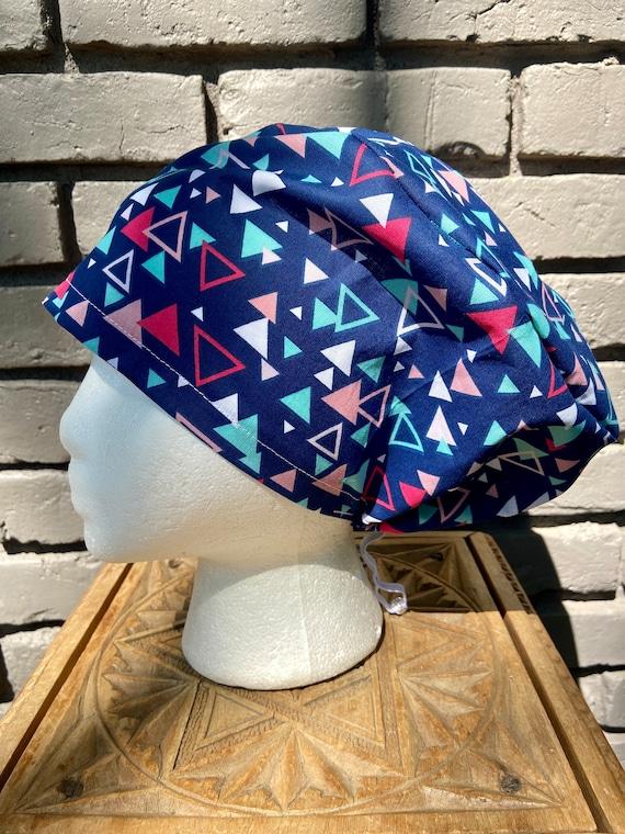 Navy, Pink, and Aqua Geometric Triangle Print - Surgical Scrub Cap -Handmade- Euro Pixie Toggle Scrub Hat