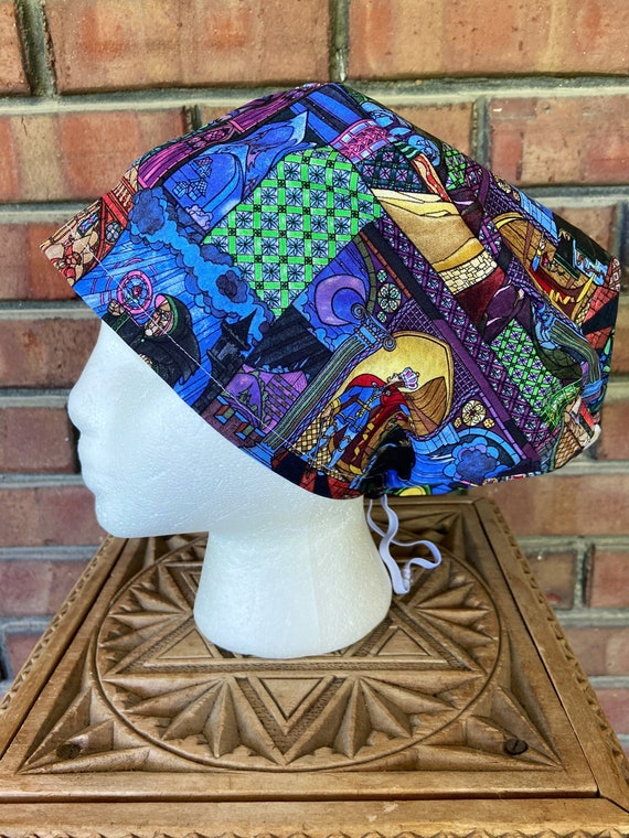 Disney Scrub Cap, Beauty and the Beast Stained Glass, Surgical Scrub Cap, Scrub Caps for Women, Scrub Hats, Euro Pixie Toggle Hat