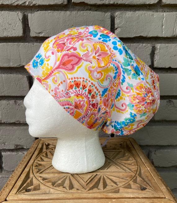 Caribbean Paisley Floral Print - Surgical Scrub Cap -Handmade- Euro Pixie Toggle Scrub Hat