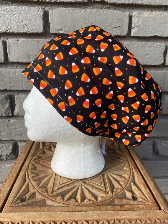 Halloween Scrub Cap, Candy Corn, Surgical Scrub Cap, Scrub Caps for Women, Scrub Hats, Euro Pixie Toggle Hat