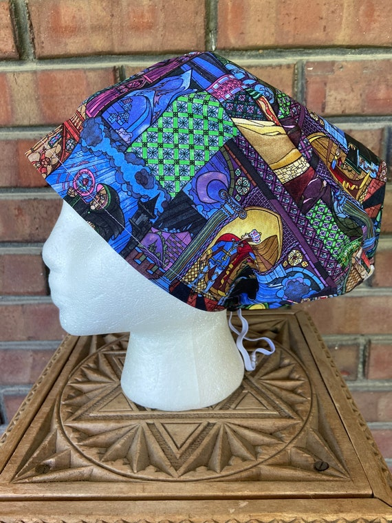 Beauty and the Beast Stained Glass Print - Surgical Scrub Cap -Handmade- Euro Pixie Toggle Scrub Hat