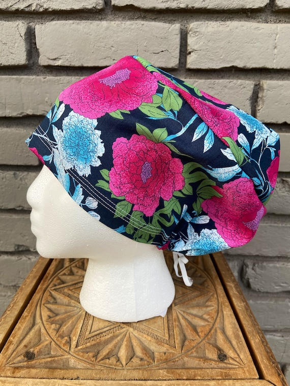 Floral Scrub Caps, Peony, Surgical Scrub Cap, Scrub Cap for Woman, Scrub Hats, Euro Scrub Cap for Woman with Toggle