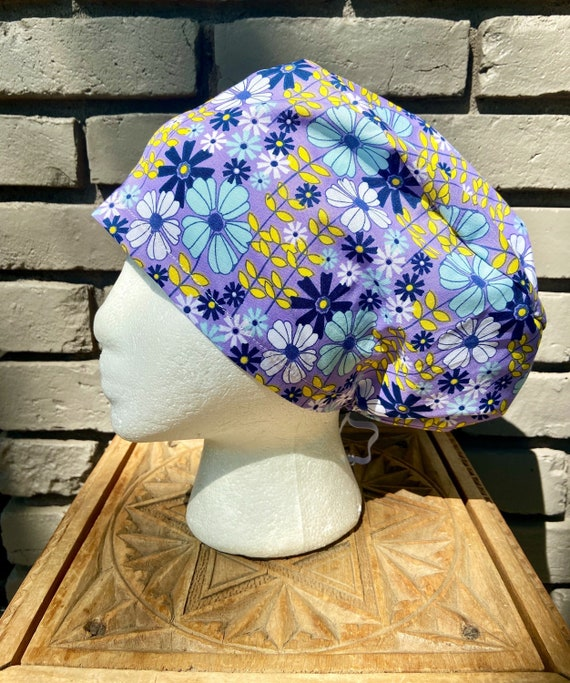Flower Scrub Cap, Purple Yellow and Aqua Daisy Floral, Surgical Scrub Cap, Scrub Caps for Women, Scrub Hats, Euro Pixie Toggle Hat
