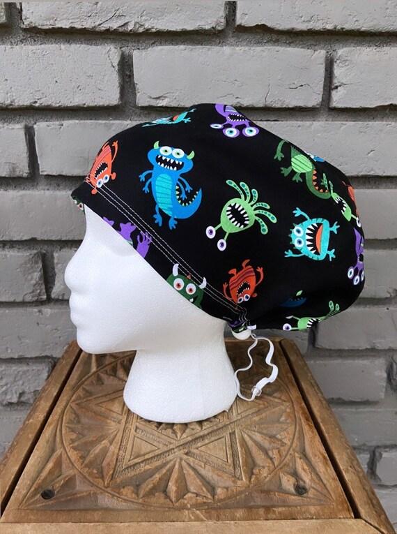Monster Scrub Cap, Surgical Scrub Cap, Scrub Cap for Woman, Scrub Hats, Euro Scrub Cap for Woman with Toggle