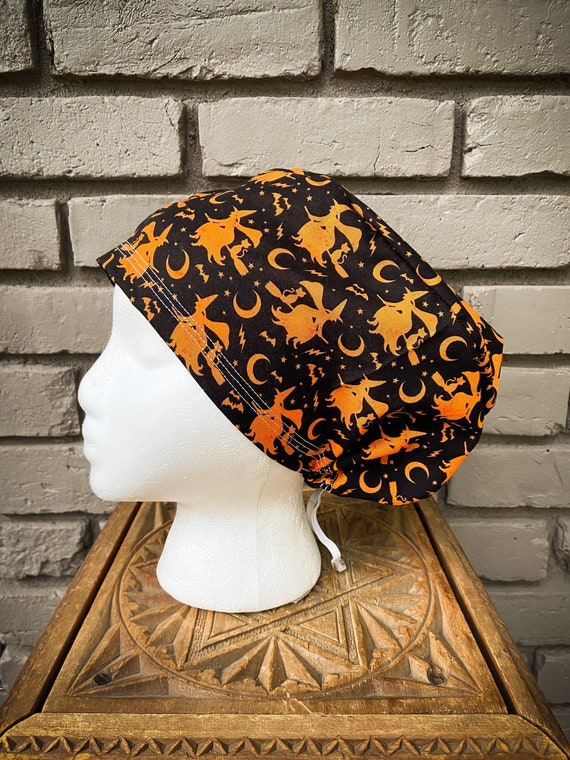 Halloween Scrub Cap, Witch, Cat, Surgical Scrub Cap, Scrub Caps for Women, Scrub Hats, Euro Pixie Toggle Hat