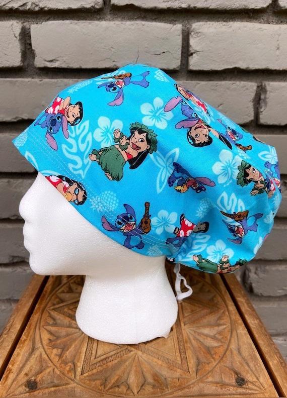 Lilo and Stitch Scrub Cap, Surgical Scrub Cap, Scrub Cap for Woman, Scrub Hats, Euro Scrub Cap for Woman with Toggle, Inspired