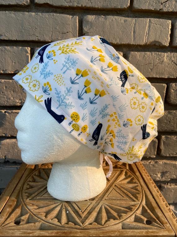 Black Bird Print -  Surgical Scrub Cap -Handmade- Euro Pixie Toggle Hat