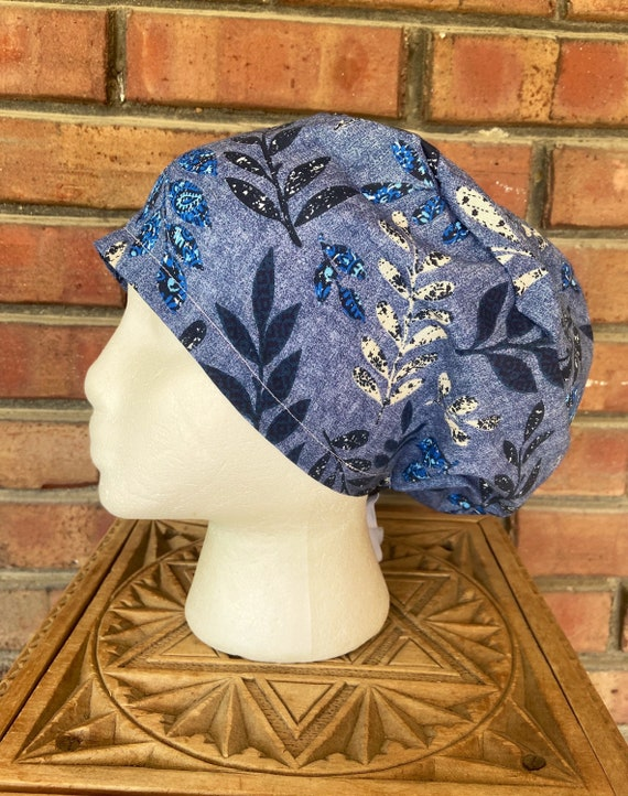 Floral Scrub Cap, Blue Vine Floral, Surgical Scrub Cap, Scrub Caps for Women, Scrub Hats, Euro Pixie Toggle Hat
