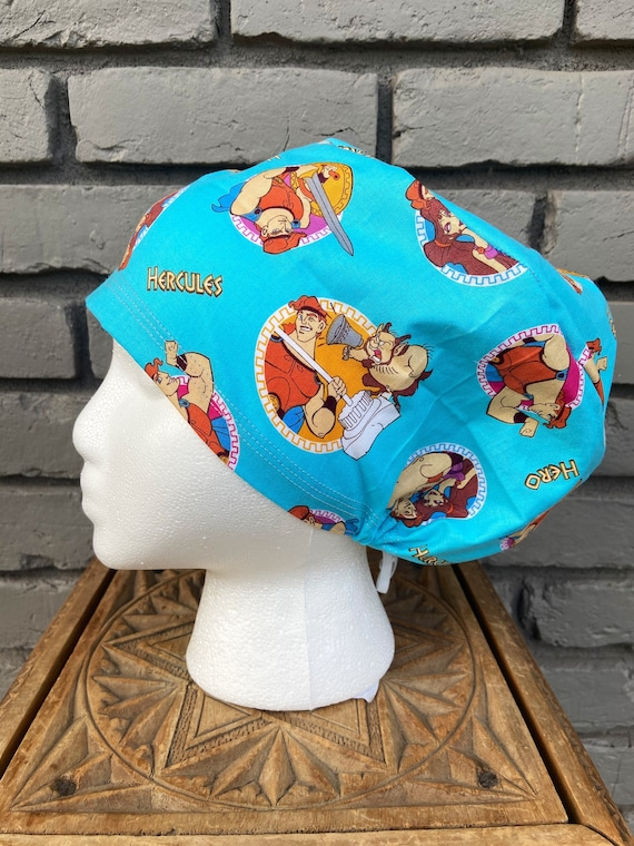 Disney Scrub Cap, Hercules, Surgical Scrub Cap, Scrub Caps for Women, Scrub Hats, Euro Pixie Toggle Hat, Inspired