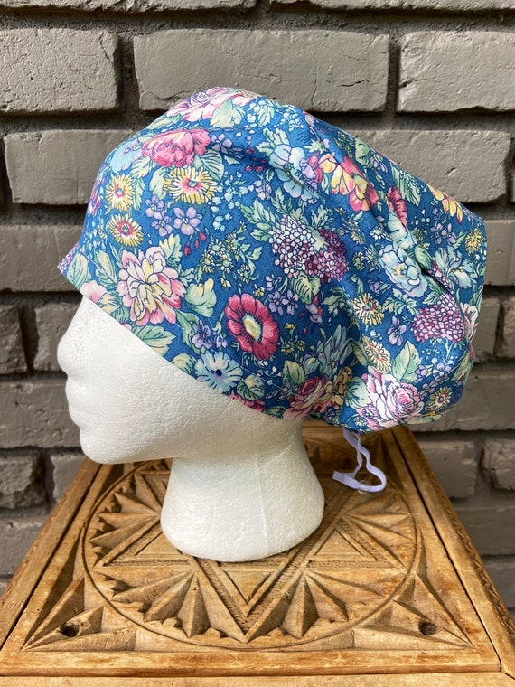 Floral Scrub Cap, Beautiful Blue Country Floral,  Surgical Scrub Cap, Scrub Caps for Women, Scrub Hats, Euro Pixie Toggle Hat