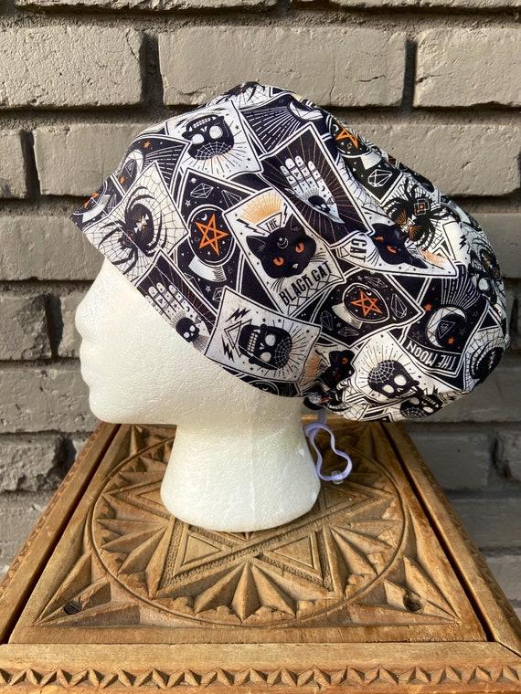 Halloween Magic Print-  Surgical Scrub Cap -Handmade- Euro Toggle Hat