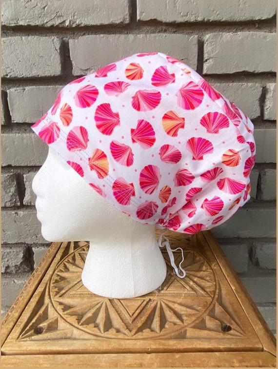 Seashell Scrub Cap, Surgical Scrub Cap, Scrub Caps for Women, Scrub Hats, Euro Pixie Toggle Hat, Sunrise Shells