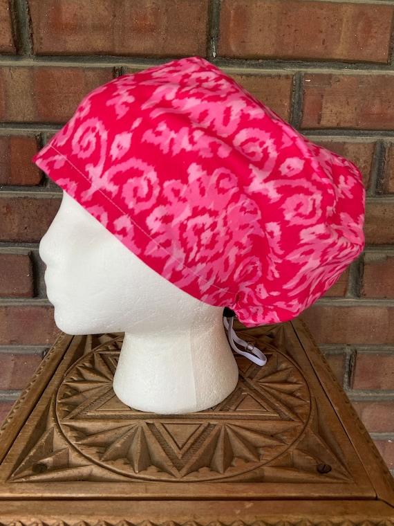 Bright Pink Ikat  Print - Surgical Scrub Cap -Handmade- Euro Pixie Toggle Scrub Hat