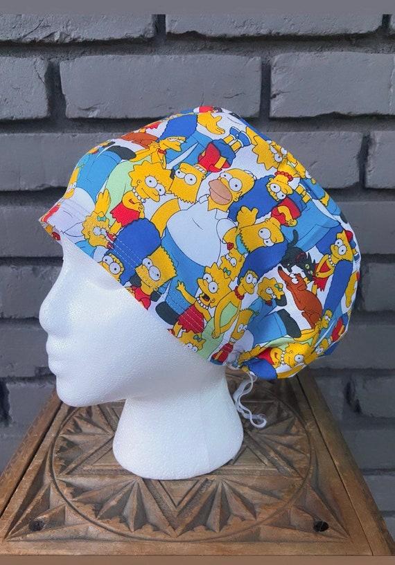 The Simpsons Scrub Cap,  Surgical Scrub Cap, Scrub Caps for Women, Scrub Hats, Euro Pixie Toggle Hat