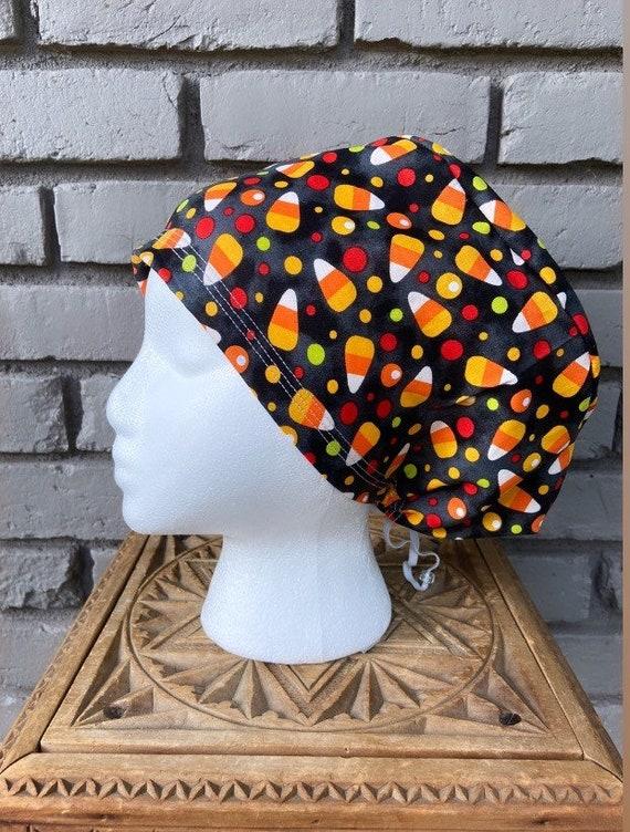 Halloween Scrub Cap, Candy Corn, Surgical Scrub Cap, Scrub Caps for Women, Scrub Hats, Euro Pixie Toggle Hat