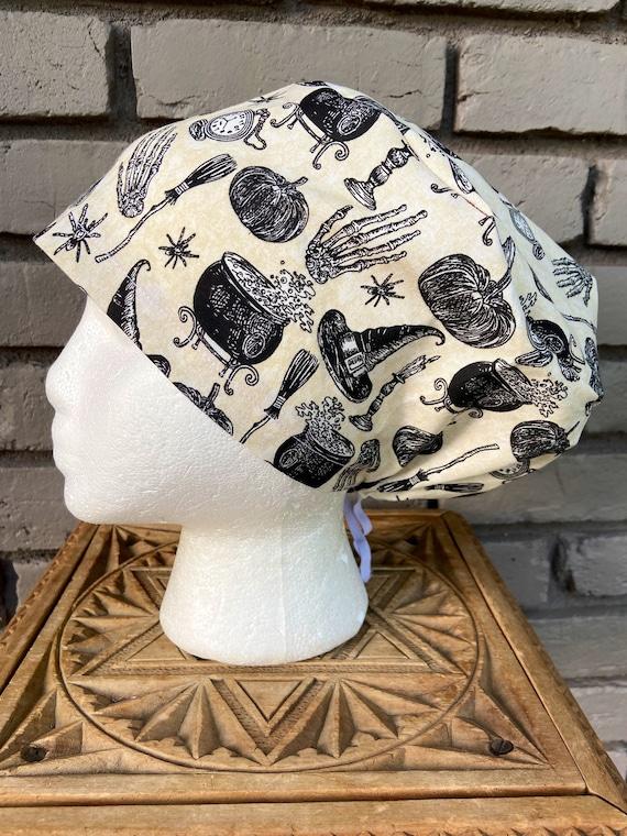 Halloween Scrub Cap, Witch, Surgical Scrub Cap, Scrub Caps for Women, Scrub Hats, Euro Pixie Toggle Hat