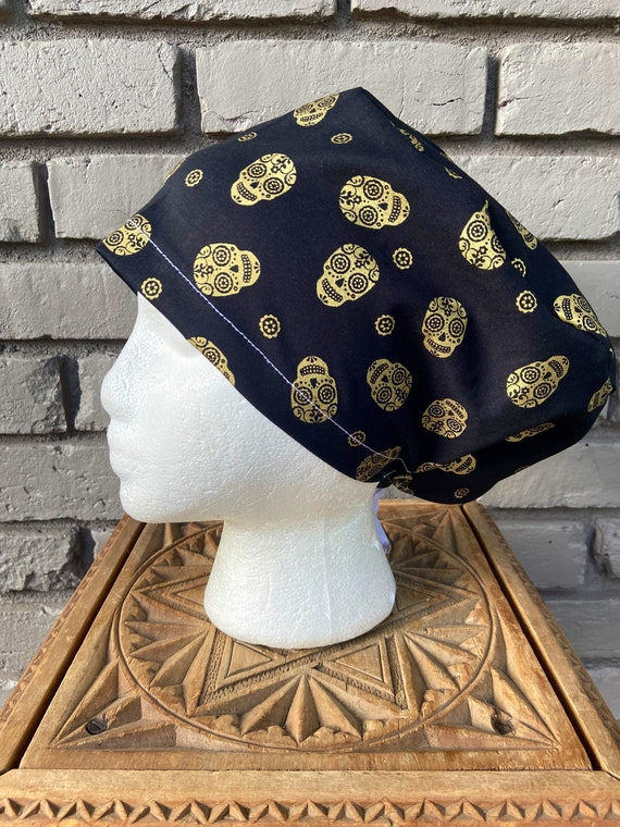 Halloween Scrub Cap, Day of the Dead Sugar Skull, Surgical Scrub Cap, Scrub Caps for Women, Scrub Hats, Euro Pixie Toggle Hat