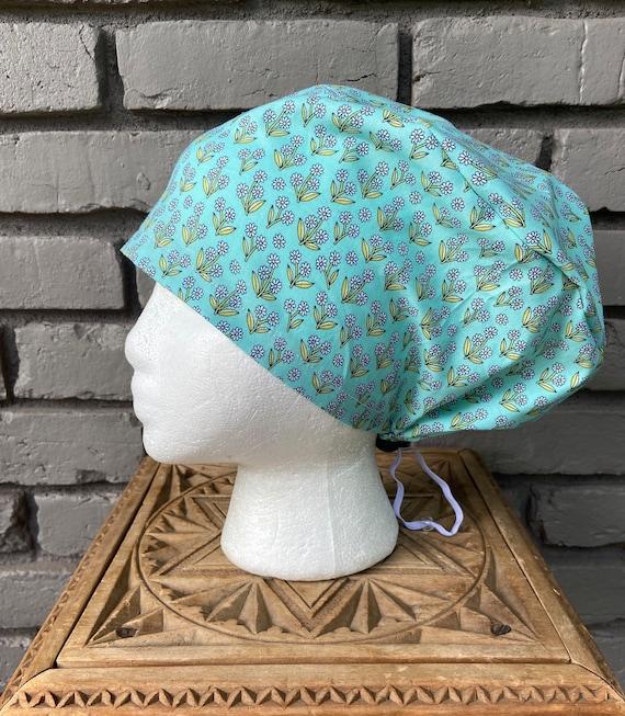 Blue Allover Daisy Print - Surgical Scrub Cap -Handmade- Euro Pixie Toggle Scrub Hat