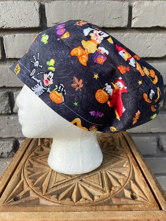 Disney Scrub Cap, Mickey Minnie Mouse Halloween, Surgical Scrub Cap, Scrub Caps for Women, Scrub Hats, Euro Pixie Toggle Hat