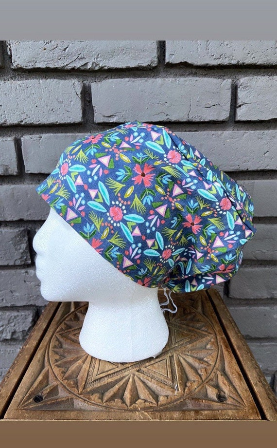 Colorful Floral Scrub Cap, Surgical Scrub Cap, Scrub Cap for Woman, Scrub Hats, Euro Scrub Cap for Woman with Toggle,