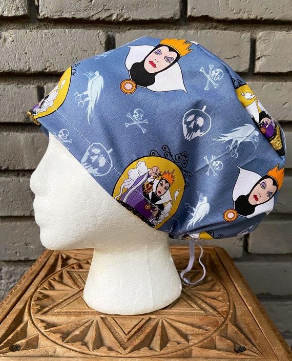 Disney Scrub Cap,  Villains, Evil Queen, Snow White, Surgical Scrub Cap, Scrub Caps for Women, Scrub Hats, Euro Pixie Toggle Hat