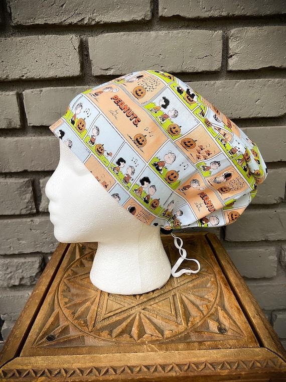 Peanuts Scrub Cap, Snoopy, Charlie Brown,  Surgical Scrub Cap, Scrub Caps for Women, Scrub Hats, Euro Pixie Toggle Hat, Halloween